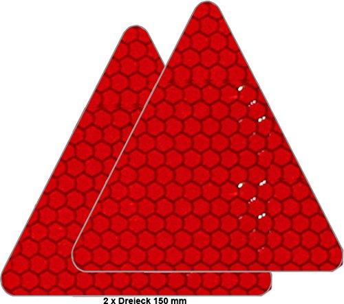 Preisvergleich Produktbild UvV-Reflex: Reflektoren für Fahrrad, PKW, Anhänger, Parkpfosten oder zur Dekoration, rot reflektierend (2 Stück / Dreiecke 150 mm)