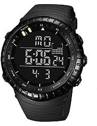 KanLin1986 Hombre LED Digital Fecha Deporte De Alarma Militar Impermeable De Goma Reloj De Cuarzo (Negro)
