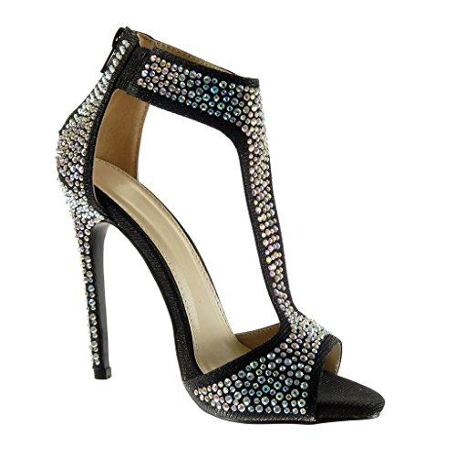 Angkorly Chaussure Mode Sandale Bottine salomés sexy stiletto femme strass diamant brillant Talon haut aiguille 12.5 CM Noir