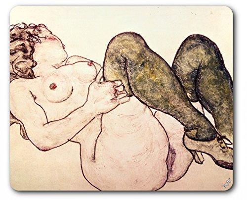 1art1 89483 Egon Schiele - Akt Mit Grünen Strümpfen, 1918 Mauspad 23 x 19 cm