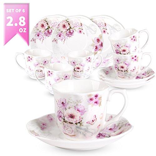 GuangYang Neu Bone China Kaffeetassen und Untertassen Set für 6 Personen mit Retro-Modern Blumen...