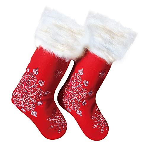 Deggodech 2er Set 50cm Weihnachtsstrumpf Groß Stickerei Weihnachten Strumpf Beutel Nikolausstiefel Befüllen Rot Weihnachtsstrümpfe Socken Personalized Weiß Schneeflocke Christmas Stockings Hängen Weihnachtssocken Kamin Deko Geschenkbeutel (19inch/50cm)