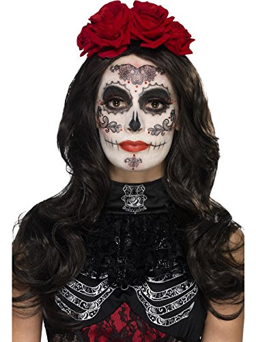 Muertos Up Make Dia Kostüme De Los (Smiffy's 44962 - Damen Tag der Toten Augenmaske, Gesichtsfarbe, Wimpern, Schmuck und Applikatoren, One Size,)