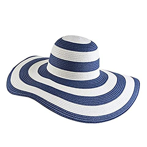 Pingenaneer Womens Big Brim Hat / Beach Sun Hat / Classic Striped Straw Hat,UPF50 Foldable