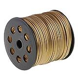 IPOTCH 100 Yard 2,6mm Breite Lederband Samtbandrolle Schmuckband für Handwerk - Golden