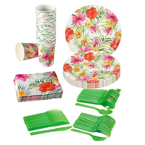 (Hawaiian Luau Party Supplies–Dient 24–inkl. Teller, Messer, Löffel, Gabeln, Tassen und Servietten perfekt für Geburtstage und Sommer Party)