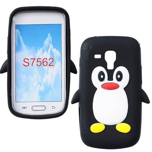 Semoss 3D-Pinguin-Design, Silikon, weich, für Samsung Galaxy S Duos S7562 Schwarz -