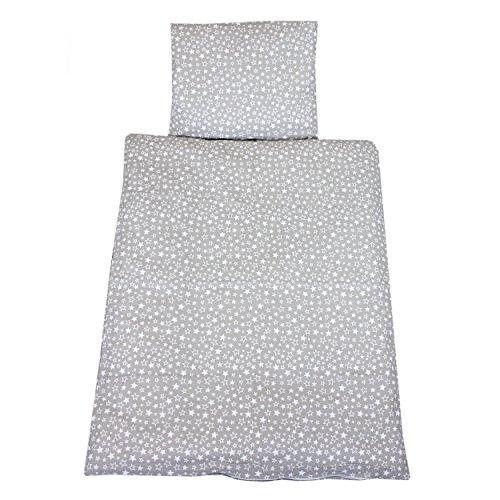 Baby-bettwäsche Weiße Kinderbett-set (TupTam Baby Kinderwagen Bettwäsche Set Wiegenset 60x75 4 tlg, Farbe: Sternchen Weiß/Grau, Größe: ca. 60 x 75 cm)