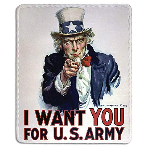 Virsaa Art Mousepad Mauspad aus Naturkautschuk mit klassischem Poster von I Want You für US Army Classic Uncle Sam Poster Stitched Edges,Gummimatte 11,8