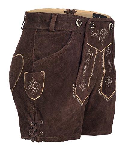 Tracht & Pracht - Damen 100% Wildleder - Trachtenlederhose Kurz Hotpants - Lederhose Dunkelbraun - 40 -