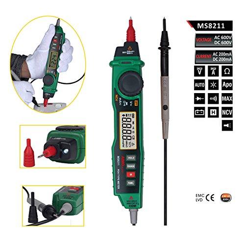 Preisvergleich Produktbild Wiysond AIMOmeter MS8211 Digitales Multimeter mit NCV-Detektor, Strömungsmeter, Stift-Typ, berührungsfrei, Gleichstrom- und Wechselstrom-Spannung, Datenspeicherung