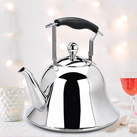 Whistling Tea Kettle 4Quart Edelstahl Topf Wasserkocher Tee für Elektro- oder Gas Herd Cool Cute modernes Wasserkocher Tee Herdplatte Teekanne Hot Wasser Whistle kleinen Retro Metall Tee (Aluminium Stahl Tee-kessel)