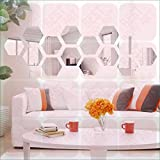 BEST DECOR Hexagon Silver(pack Of 14)Acrylic Sticker, 3D Acrylic Sticker, 3D Mirror, 3D Acrylic Wall Sticker, 3D Acrylic Stickers For Wall, 3D Acrylic Mirror Stickers For Living Room, Bedroom, Kids Room, 3D Acrylic Mural For Home & Offices Déco