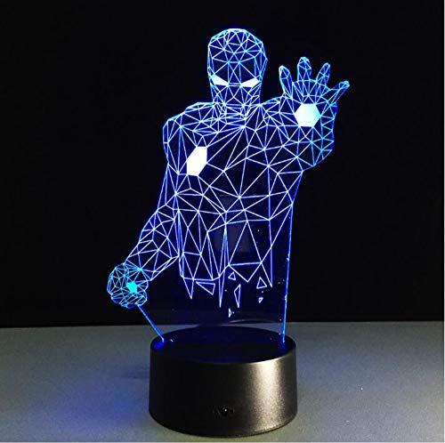 3D Tischlampe Mann Eisen bunte LED Kronleuchter 3D Nacht leuchtet Kinderzimmer Nachttischlampen dekorativ für Spielzeug Geschenk - Motorrad-club Um Den Eisen,