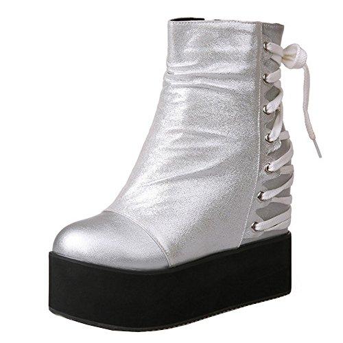 TAOFFEN Damen Klassischer Keilabsatz Reißverschluss Knoechel Stiefel Silber