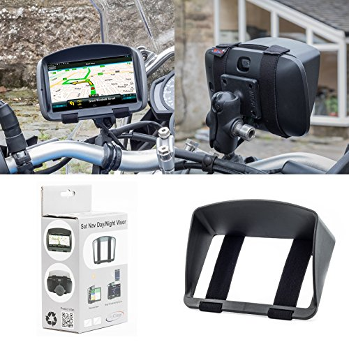 Sonnenschutz Visier für Motorrad oder Fahrrad Navigationsgerät Navi Sat Nav Garmin Zumo 595LM 396LMT-S 346LMT-S 396 346 LMT-S LMT TomTom Rider 500 550 450 420 TOM TOM 42 410 40 Mit 5'' oder 4,3'' LCD Screen Anti-Glare GPS mit sicherer und robuster Armband passend Design aus Digicharge® Von Digital Accessories Ltd Anti Glare Screen