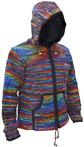 bb135bd214acbd LITTLE KATHMANDU Men's Tie Dye Woolen Knitted Fleece Lined Festival Hoodie  Jacket Black Rainbow Large