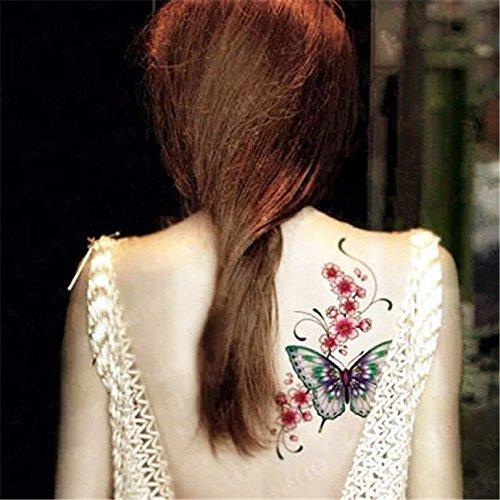 LZC 15x21cm tatuaggi tatuaggio temporanei impermeabile Adulti della spalla braccio grande e reale Decorazione del partito Vacanze Shoulder Tattoos Hombre y Mujer Uomo e donna Nero colori - Farfalle e Fiori