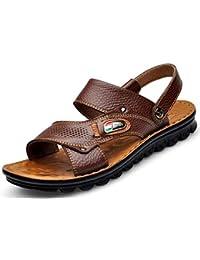 Beauqueen Homme à mi-âge Ceinture à double élastique ajustable Cuir respirant Extérieur Pantoufles Sandales Chaude Toe Beach à la mode Antidérapante Wearable Soft Outsoles Casual Shoes 38-44