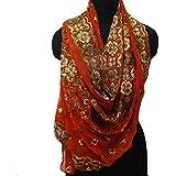 bufandas hechas a mano dupatta indio cosecha tejido georgette cuello hijab bufanda de color naranja pareo velo bordado utilizado robaron