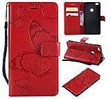 THRION Funda Huawei P8 Lite 2017, Cuaderno Cuero PU Mariposa Cubierta con Ranuras para Tarjetas y Cierre Magnético para Huawei P8 Lite 2017, Rojo