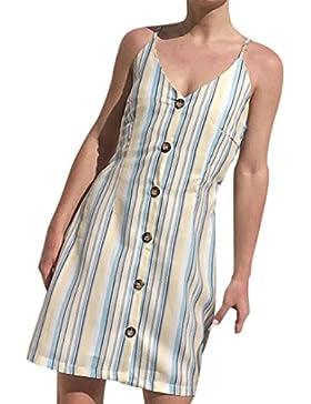 Vestido sexy para mujer – Saihui verano estampado a rayas estilo bohemio profundo cuello V Spaghetti correa botón...