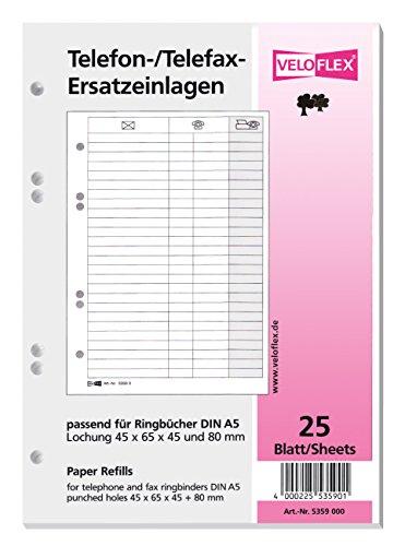 Veloflex 5359.000 Ersatzeinlage f.Tel.-Ringbuch 5158 25Bl Gans Stand