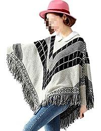 Antemi - Femmes - Poncho femme d'hiver à franges et motifs géométriques - Gris