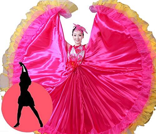 ZYLL Flamenco Rock Damen Bauch Tanzen Chiffon Rock Erwachsene Weiblich Kleid Performance Spanisch Stierkampf Tanzen Groß,720°,XL - Chiffon-bauch-tanzen