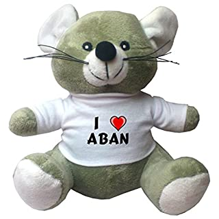Plush Mouse with I Love Aban T-shirt (first name/surname/nickname)