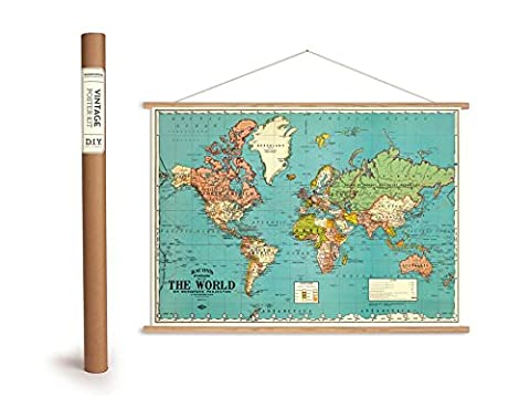 Vintage World Map Poster with Wood Slats (Frame) and String, Counted Cross Stitch Kit Bacons – Bacons Standard The World