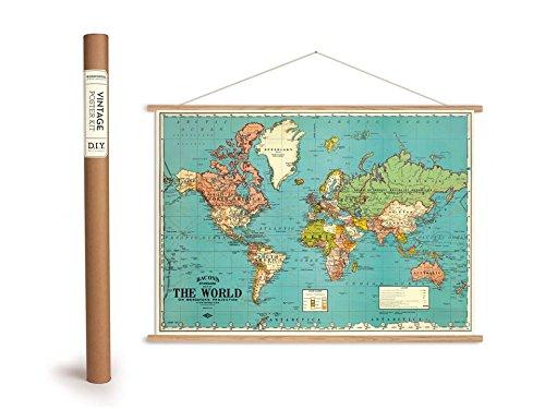Mappa del mondo Vintage Poster con doghe in legno (Telaio) e filo per punto croce contato, bacons-bacons Standard del mondo