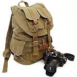 iDream - Retro Sac à dos toile canvas pour caméra DSLR SLR appareil photo reflex - avec housse de pluie étanche pour Sony Canon Nikon Olympus - 30cm x 17cm x 42cm (Vert militaire)