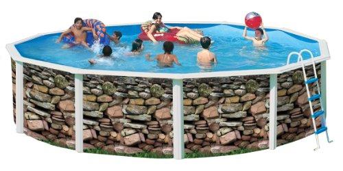 Piscina acero redonda imitacion muro 4,60 x 1,20m 8527