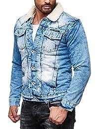 c47e474c7d85 Red Bridge Herren Trucker Sherpa Denim RBC Jeansjacke gefüttert Jacke Mantel  Herbst Winter Jeans Blue Denim