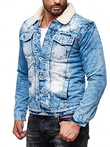 Red Bridge Herren Jeansjacke Trucker Sherpa Denim RBC gefüttert Jacke Herbst Winter Jeans Blue Denim Blau Original (Blau, XL) (Sherpa-gefüttert-jeans)