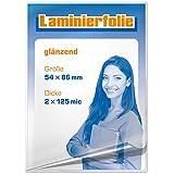 plastificar para tarjetas de visita 54x 86mm, 2x 125micrones, brillante, 100unidades)
