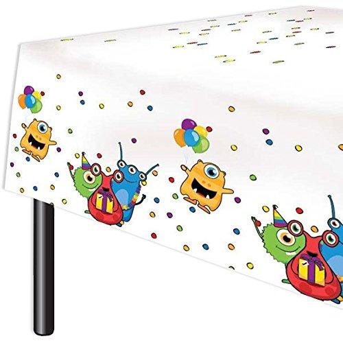 Haza 1 Tischdecke, Monster, zur Alien Geburtstags-Feier Junge und Mädchen (Monster Geburtstag 1.)