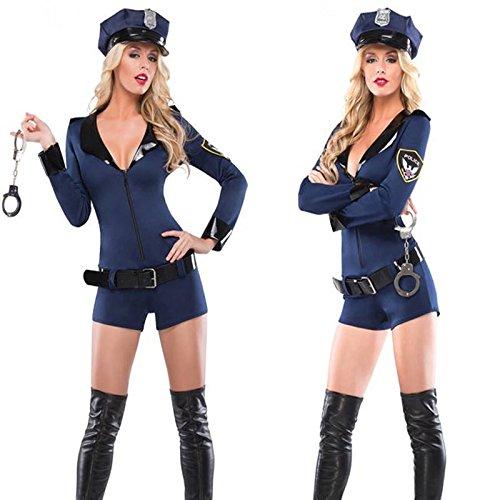 Gorgeous Blau langärmelige Hosen siamesische Halloween-Kostüm Uniformen Polizistin Rollenspiel (Blau Tuxedo Kostüme)