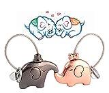 Superstar88 Schlüsselanhänger 1 Paar Fantastische küssende Elefanten Keychains Schlüsselring Partneranhänger Süße Key Chain Valentinsgruß Geschenk,Tolles Geschenk für Liebhaber (Schwarz und Rosegold)