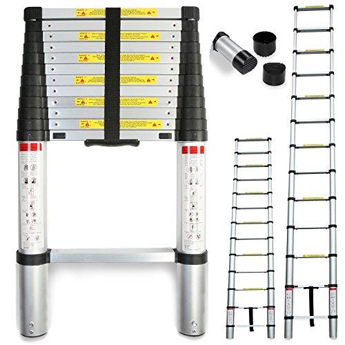 TRESKO® Teleskopleiter Anlegeleiter Aluleiter Stehleiter | Fingerklemmschutz | belastbar bis 150 kg | ca. 47,5 cm breit | Tragegriff (2,60m)