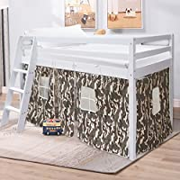 Cabin Bed, Warmiehomy Mid Sleeper Cabin Bed Tent Pine Wood White