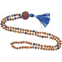 Mogul Interior Chakra Japamala Healing Beads Rudraksha Blue Lapiz Lazuli Buddhist Necklace Knotted 108