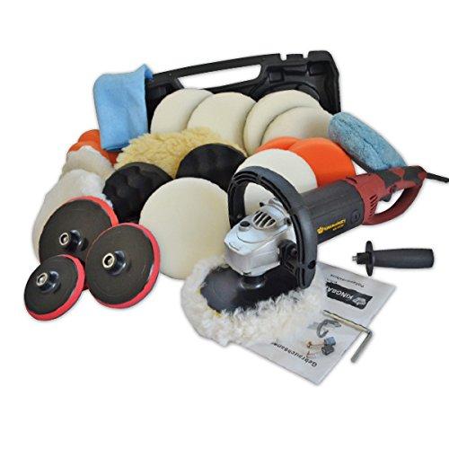 *Kingbarney XL Profiset – Poliermaschine / Schleifmaschine inkl. Koffer 1500 Watt Set 2 + Polierschwamm Zubehörset – 26 Teile – Polierer – Auto polieren*