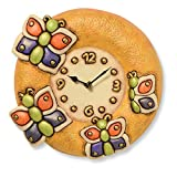 Acquista Thun Arredo Casa Orologio da Parete Farfalla, Ceramica, Multicolore, 27.77 x 26.17 x 8.5 cm