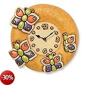 Thun Arredo Casa Orologio da Parete Farfalla, Ceramica, Multicolore, 27.77 x 26.17 x 8.5 cm