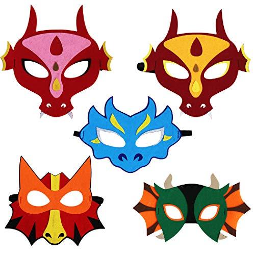 Kostüm Muster Dinosaurier - Joyibay 5 Stücke Halloween Maske Kreative Dinosaurier Muster Kostüm Maske Party Maske für Kinder