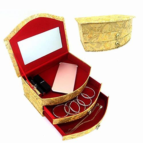 Preisvergleich Produktbild Schmuckkästchen,  doppelschichtig,  multifunktional,  große Kapazität,  für Schmuck,  Ohrringe,  Ringe,  Halsketten,  Uhren,  Aufbewahrungsbox mit Schublade (25 x 18 x 11 cm),  gold,  Large