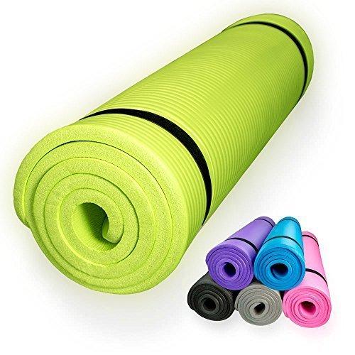 diMio Tapis de Yoga / Pilates 185x60cm 5 couleurs au choix 2 épaisseurs Antidérapant - citron vert - 185 x 60 x 1.5 cm