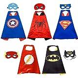 Capa de superhéroe HTIANC 5 Capa y 5 máscaras - Ideas para regalos de Navidad - Kit de valor de Cosplay de diseño de fiesta de cumpleaños de Navidad